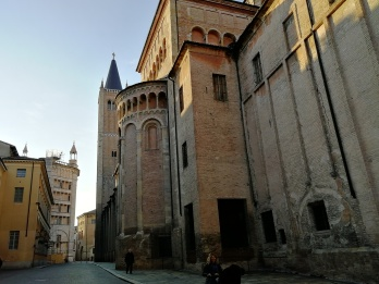 View from behind of Parma Cathedral